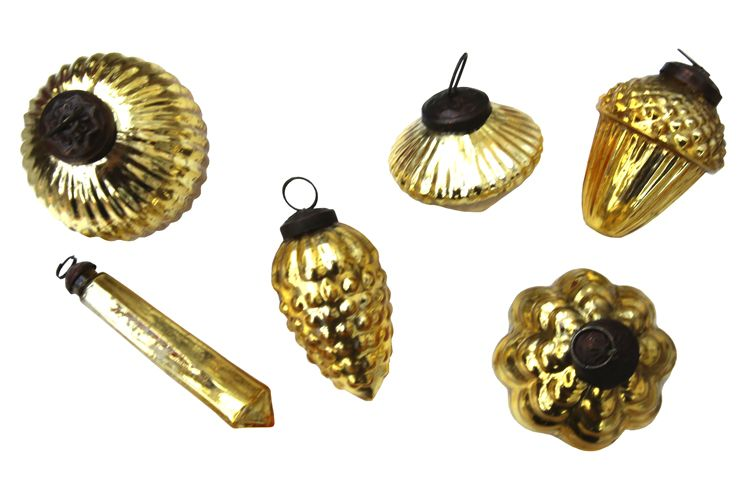 6 Mixed Gold Baubles