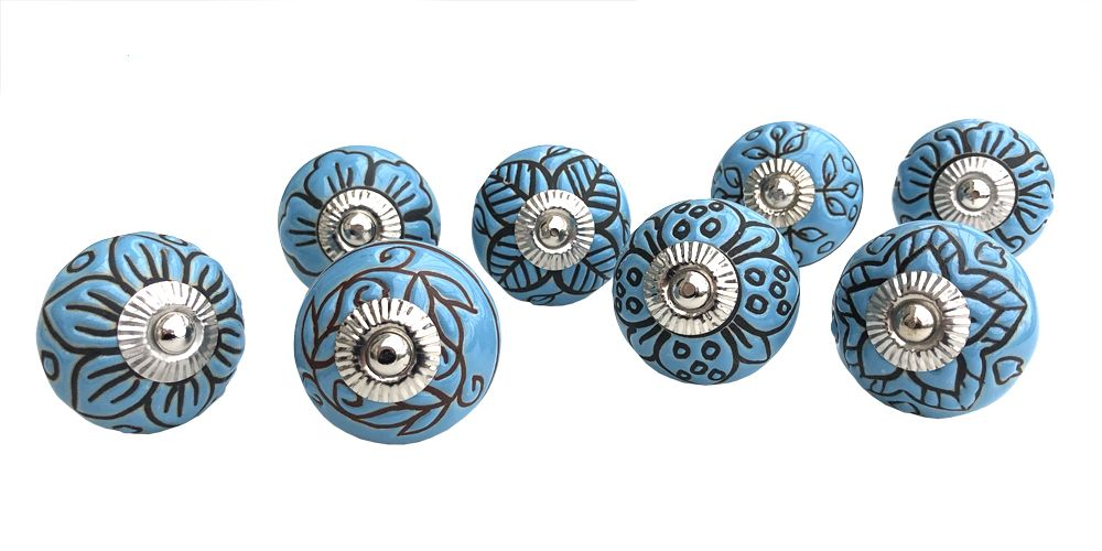 8 Blue Etched Knobs