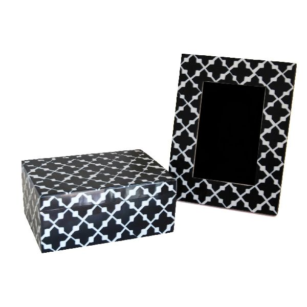 Black Patterned Box and Frame Set