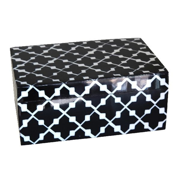 Black Patterned Trinket Box