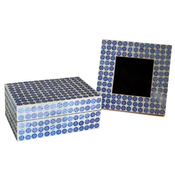 Blue Button Box and Frame Set