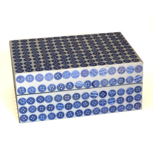 Blue Button Frame Trinket Box