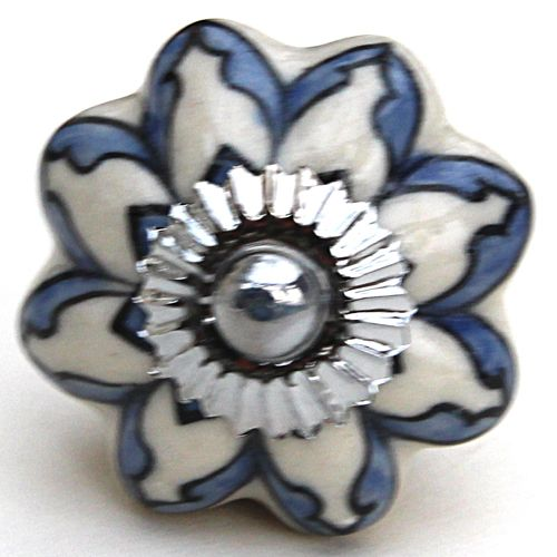 Blue flower melon knob