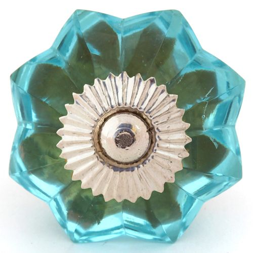 Blue glass melon knob