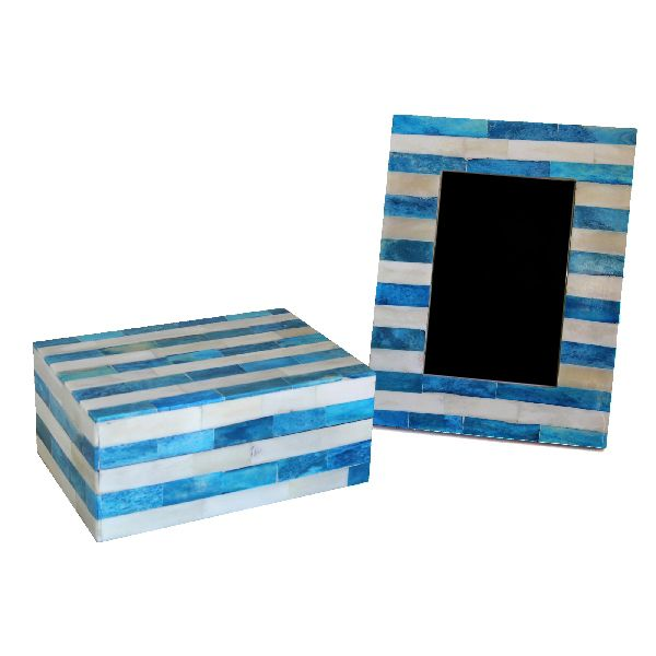 Blue Stripe Box and Frame Set