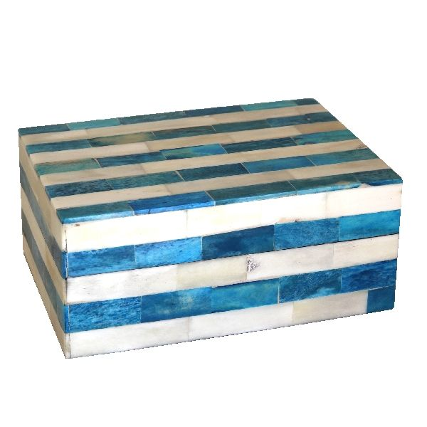 Blue Striped Trinket Box