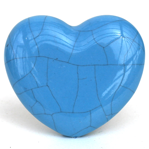 Crackle Glazed Heart - Blue