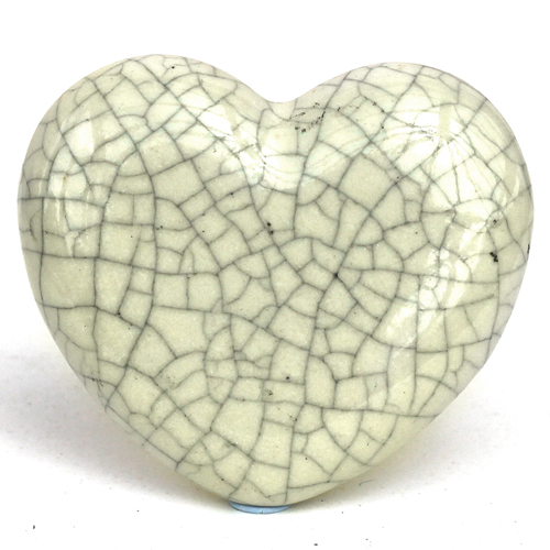 Crackle Glazed Heart - Cream