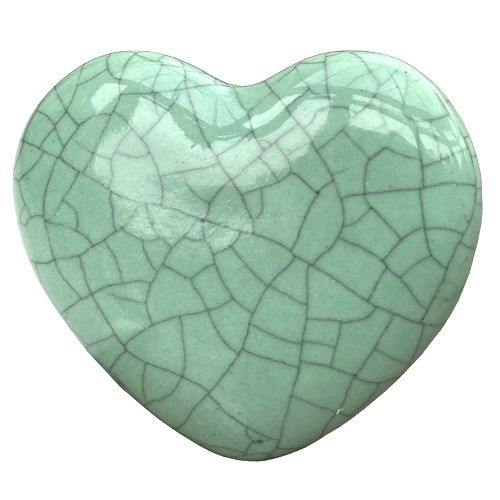 Crackle Glazed Heart - Green