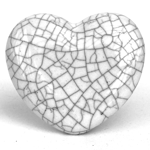 Crackle Glazed Heart - White