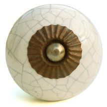 cream crackle glaze round (Bronze)