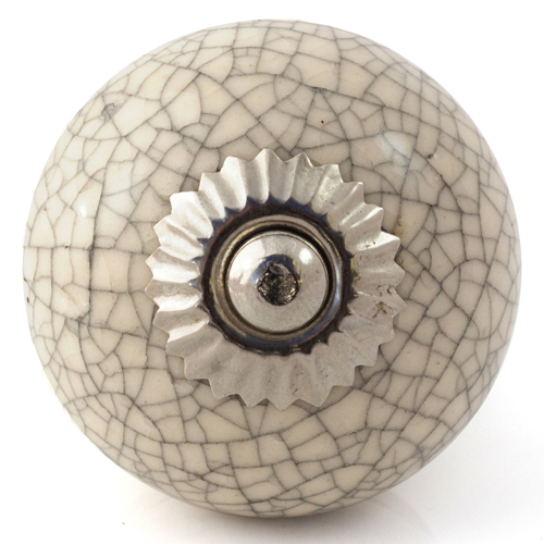 cream with black crackle glaze knob