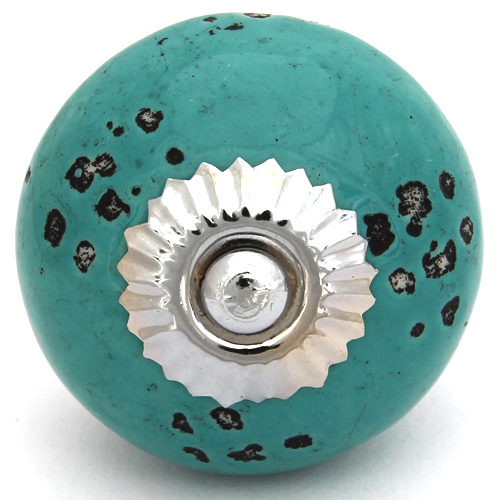 Distressed dots turquoise knob