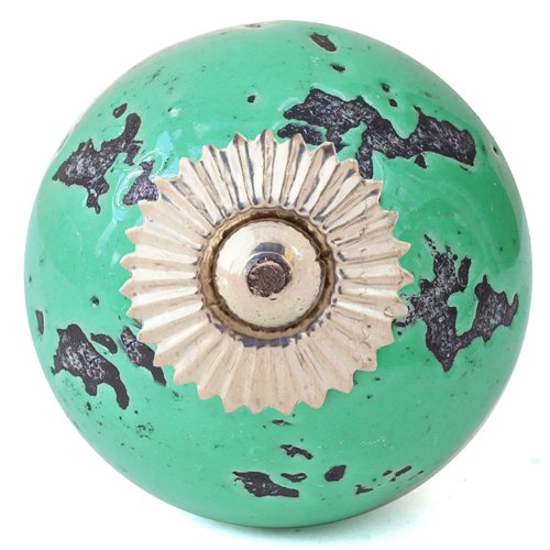 Distressed green knob