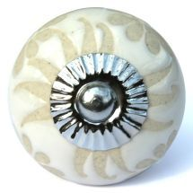 Etched Daisy Knob White