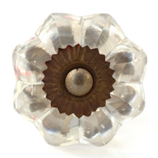 Glass melon knob with antique fittings