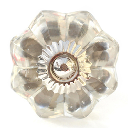 Glass melon knob with silver fittings