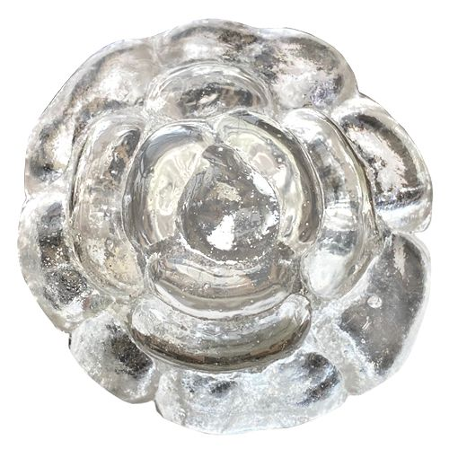 Glass rose with bronze back plate