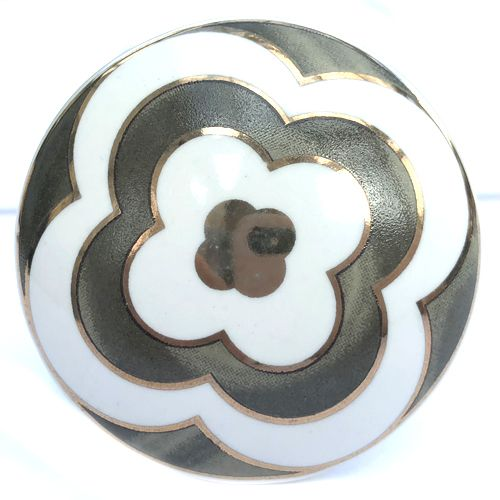 Gold Flower Knob GREY