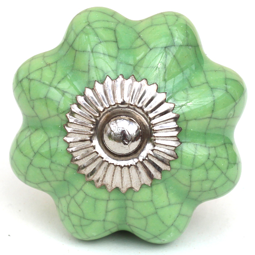 green crackle glaze melon knob