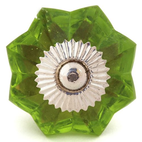 Green glass melon knob