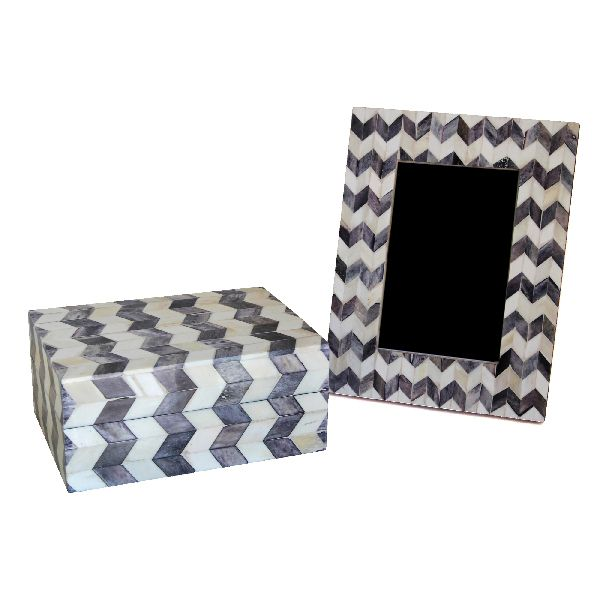 Grey Chevron Box and Frame Set