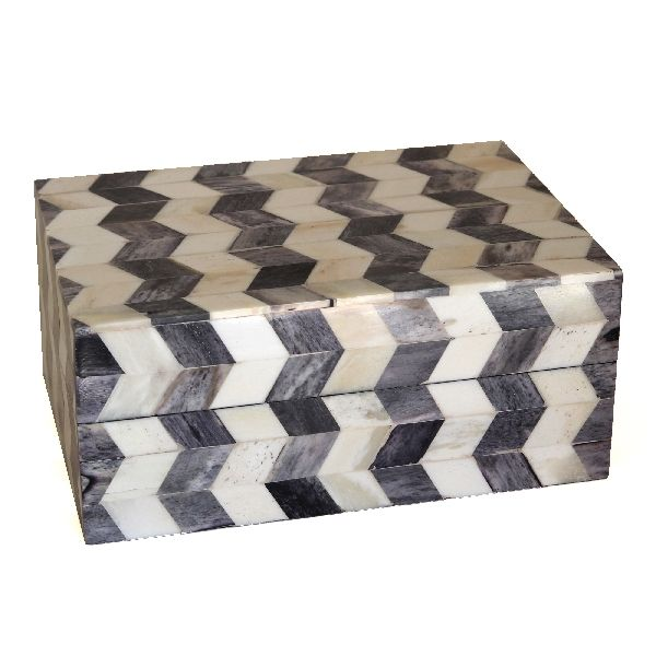 Grey Chevron Trinket Box