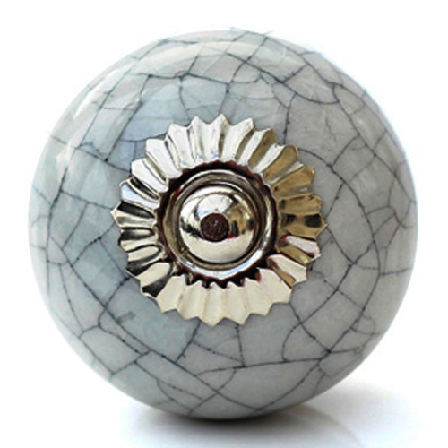 Grey crackle round knob
