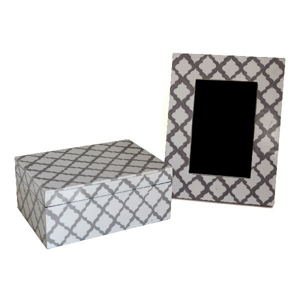 Grey Pattern Box and Frame Set