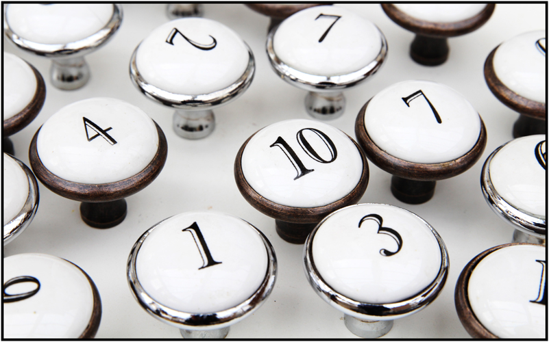 Metal and ceramic number knobs