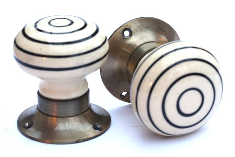 Mortice Knobs - Black Stripe (bronze)