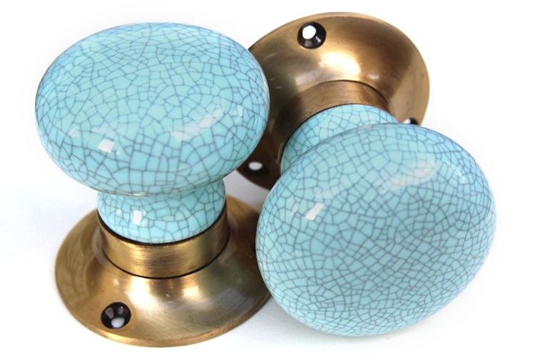 Mortice Knobs - Blue Crackle (bronze)