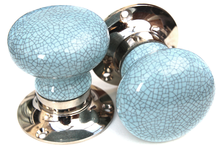 Mortice Knobs - Blue Crackle (silver)