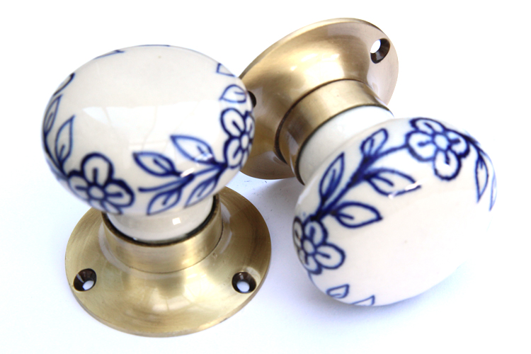 Mortice Knobs - Blue Flowers (Bronze)