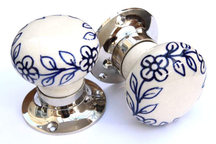 Mortice Knobs - Blue Flowers (Silver)