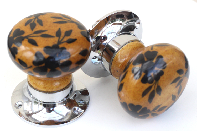 Mortice Knobs - Brown with Black Flowers