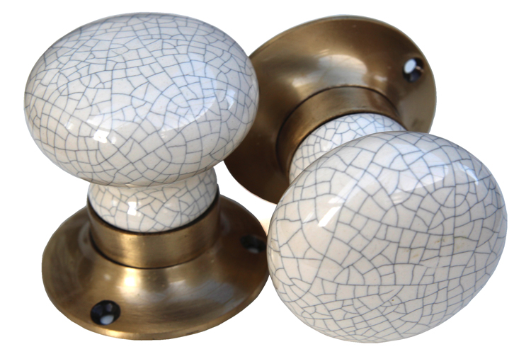 Mortice Knobs - Cream Crackle (bronze)
