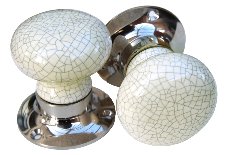 Mortice Knobs - Cream Crackle (silver)