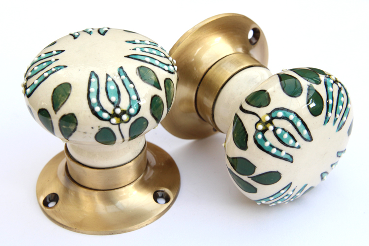 Mortice knobs - Green Embossed (Bronze)