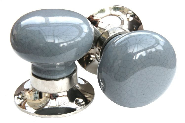 Mortice Knobs - Grey Crackle (silver)