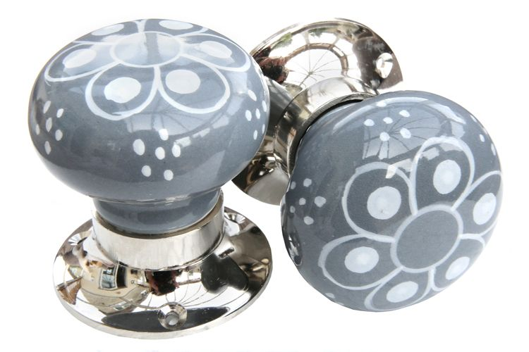 Mortice Knobs - Grey/White Pattern (silver)