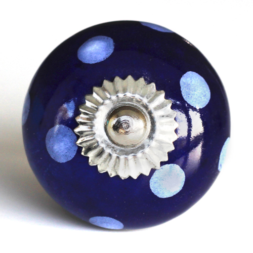 navy blue/white spots knob