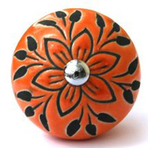 Orange/Black Embossed Knob
