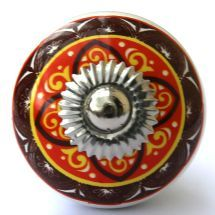 Orange/Brown Patterned Knob