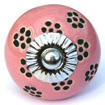Pink/Black Dotty Flower Knob
