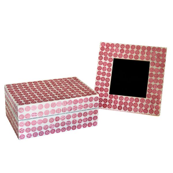 Pink Button Box and Frame Set