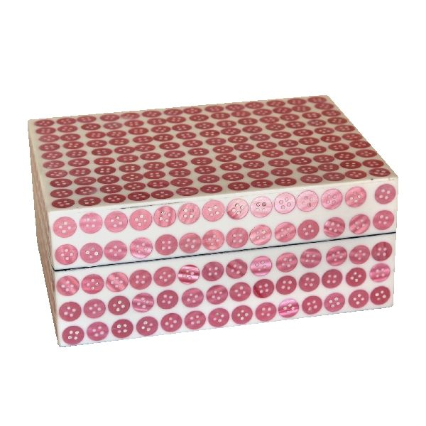 Pink Button Frame Trinket Box