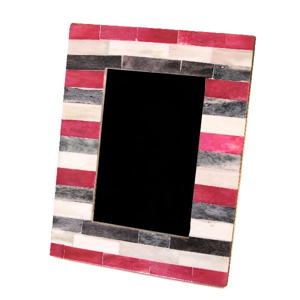 Pink/Grey Striped Photo Frame