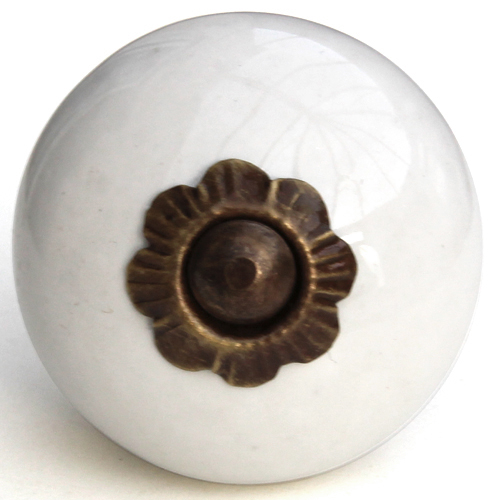 pure white knob - small bronze flower fitting