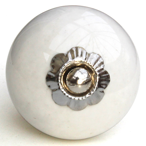pure white knob - small fluted flower fitting